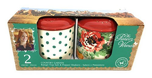 The Pioneer Woman Salt and Pepper Shakers and Cow Creamer Teal Polka Dot Country Garden Floral Ceramic Stoneware Bundle ()