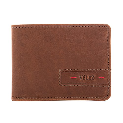 VÉLEZ 21445 Leather Bifold Wallets For Men   Cartera De Cuero De Hombre -