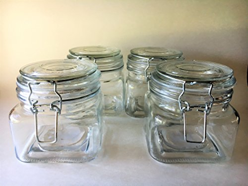 Swing Top Glass Wire Bale/Bail Jars-20 oz.Each - Thick, Heavy Glass-Set of 4