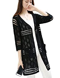 Womens Crochet Knitted Open Front Hollow Out Long Sleeve Cardigan Sweater Pocket