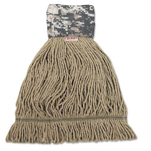 UNISAN 8200M Patriot Looped End Wide Band Mop Head, Medium, Green/Brown, 12/Carton (Patriot End Looped)