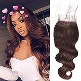 (US) Peruvian Hair 4x4 Lace Closure Peruvian Body Wave Weave Chocolate Brown Human Hair Extensions #2 Lace Closure Free Part/Middle Part/Three Part(18 inch)