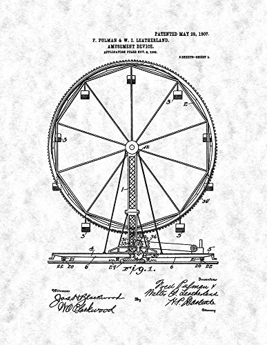 (Ferris Wheel Patent Print Gunmetal (13