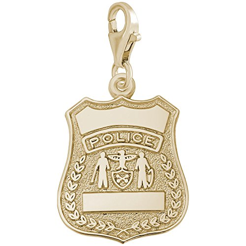 - 14K Yellow Gold Police Badge Charm With Lobster Claw Clasp, Charms for Bracelets and Necklaces