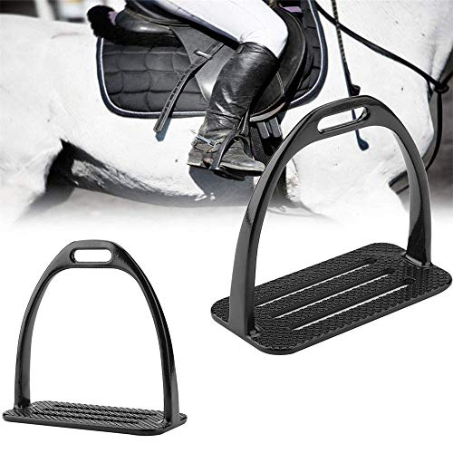 2PCS Steel Iron Safety Stirrups Saddle, Horse Riding Foot Support, Equestrian Treads,5In Wide, Anti-Slip Swivel Action Wide Track