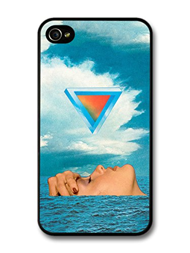 Cool Collage of Weird Woman in Sea with Triangle and Blue Sky Design case for iPhone 4 4S