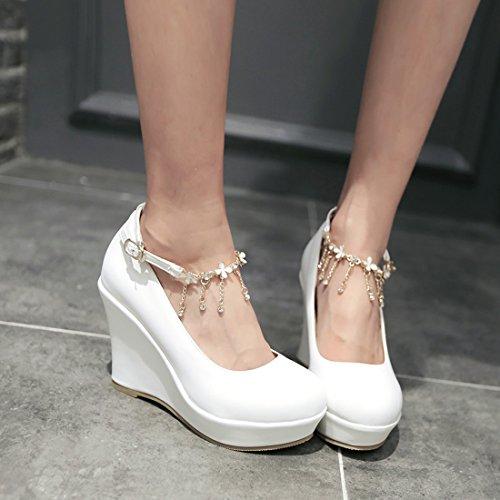 Douce a Cheville Chaussures UH Avce Confortable Strass Femmes Compensees Talon Moyen Rond de Bout Blanc 10 cm DE Bride Ev6q6