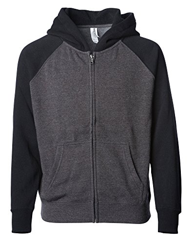 Raglan Sleeve Youth Lightweight Zip Up Fleece Blank Hoodie for Girls and Boys M Charcoal/Black