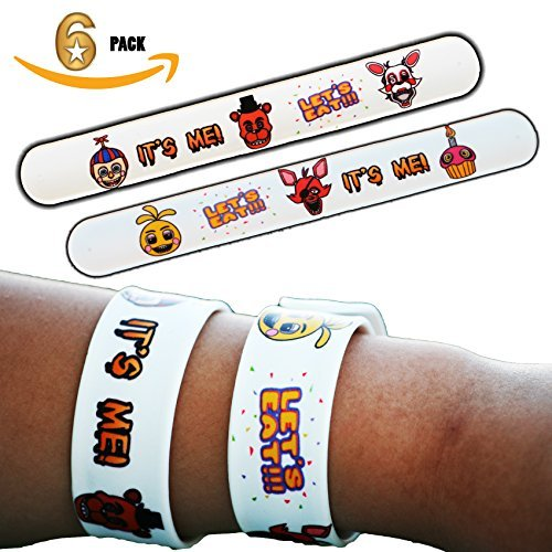 Slap The Bag Halloween Costume (6 Pack - FNAF Five Nights at Freddy's Birthday Party Decorations Supplies Goody Loot Bag Favors Slap Bracelets Jewelry - Freddy Fazbear Baby Chica Cupcake Foxy the Pirate Mangle Balloon Boy)