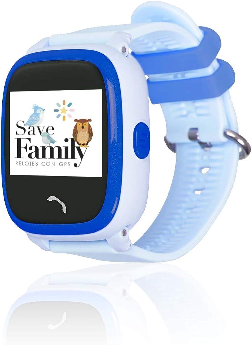 Reloj con GPS para niños SaveFamily Modelo Completo, smartwatch con Boton SOS, Permite Llamadas y Mensajes. Resistente al Agua Ip67. App Propia SaveFamily. Incluye Cargador