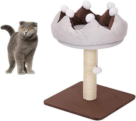 LYDIANZI Rascador - Gato Rascador rascarse la Actividad Poste Central Gato Estructura metálica Grande sisal Columna de Madera Maciza Suelo de Felpa Campana Bola Colgante: Amazon.es: Productos para mascotas