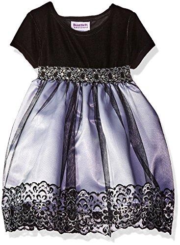 Blueberi Boulevard Baby Girls' Metallic Lace Emb Velvet Dress, Black, 12 (Velvet Dress For Baby Girl)