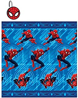 13pc Amazing Spider Man Shower Curtain And Hooks Set