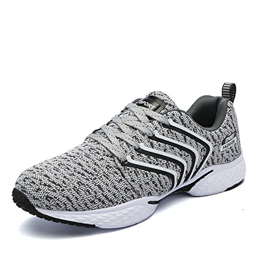 ukStore Men's Trainers Gym Fitness Walking Running Shoes Men Lightweight Casual Breathable Mesh Sports Shoe Sneakers Outdoor Grey mJYb4na4w