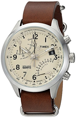 Timex Men's TW2R55100 Intelligent Quartz Fly-Back Chronograph Dark Brown Leather Slip-Thru Strap Watch - Dark Brown Slip