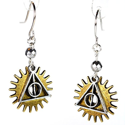 Deathly Hallows Over Gear Earrings