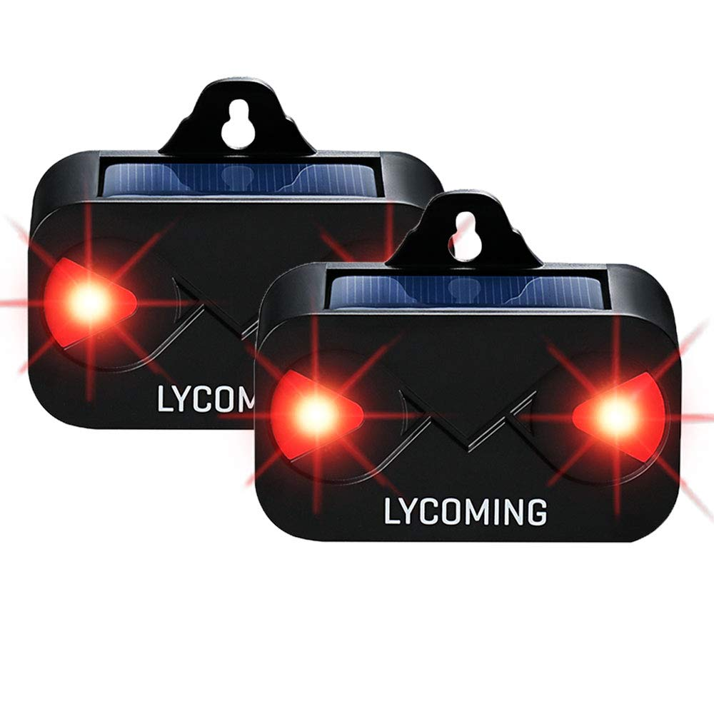 Lycoming Solar Predator Control Light Deer Repellent Devices for Nighttime Animals Skunk Repellent Coyote Deterrent with LED Strobe Lights for Garden Chickens, 2 Pack by Lycoming