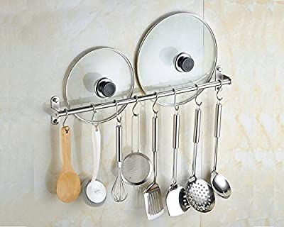 Wall Mounted Pan Pot Rack Kitchen Utensils Hanger Organizer Lid Holder Stainless Steel 15 Hooks Multipurpose