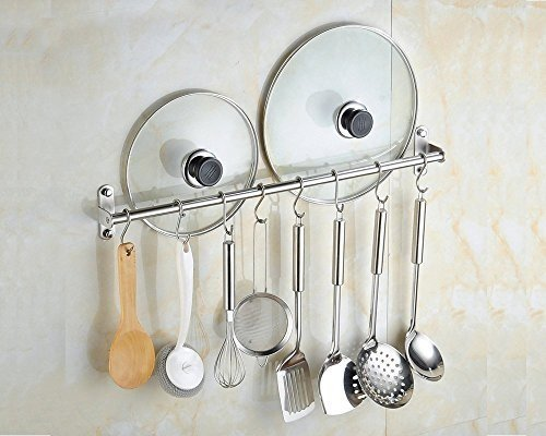 "Wall Mounted Pan Pot Rack Kitchen Utensils Hanger Organizer Lid Holder 31"" Stainless Steel 15 Hooks Multipurpose"