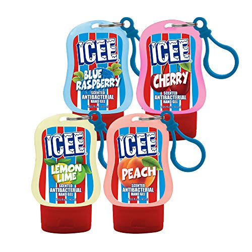 Just For Laughs Icee Scented Hand Sanitizer, 1.35 fl oz (4-pack) Cherry, Blue Raspberry, Lemon Lime, Peach