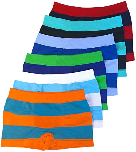 ToBeInStyle Boy's Pack of 6 Seamless Boxer Briefs Thick Stripes - Small