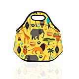 Lunch Tote Bag by LAGUTE Large Size Machine Washable Neoprene Lunch Bag Quality Insulated Reusable Lunch Tote for Adults and Kids (Yellow Animals)