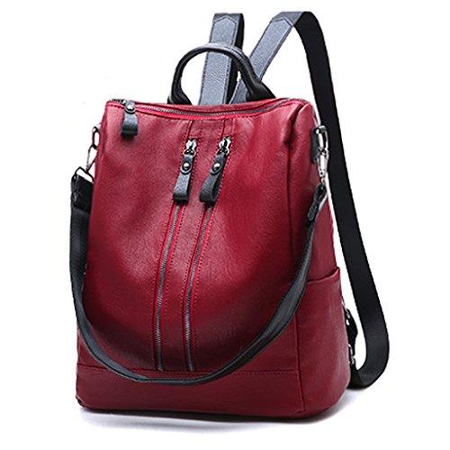 CLOTHES- Damas bolso de hombro coreano de moda personalidad salvaje de gran capacidad negro PU mochila ( Color : Rojo ) Rojo