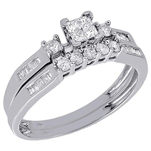 10K White Gold Princess, Round, & Baguette Cut Diamond Quad Center Engagement Ring Bridal Set 0.43 Cttw ()