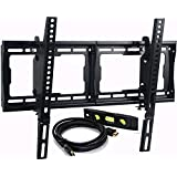 "VideoSecu Mounts Tilt TV Wall Mount Bracket for Most 23""- 75"" LCD LED Plasma TV with VESA 200x100 400x400 to 600x400mm, 15 Degree Tilt up or down - Bonus HDMI Cable and Bubble Level MF608B BBM"