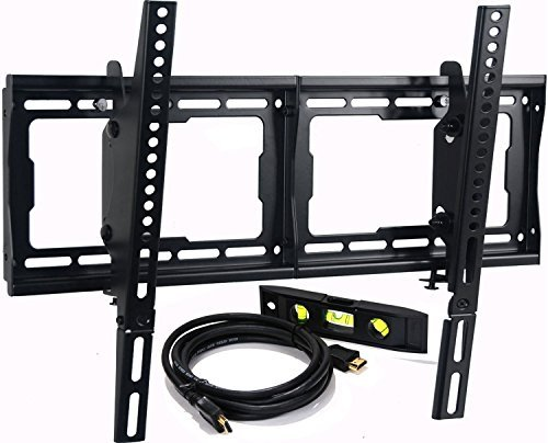 VideoSecu Mounts Tilt TV Wall Mount Bracket for Most 23″- 75″ Samsung, Sony, Vizio, LG, Sharp LCD LED Plasma TV with VESA 200×100 400×400 up to 684x400mm, Bonus HDMI Cable and Bubble Level MF608B2 WT1