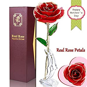 Real Rose 24K Gold Dipped Forever Rose Gifts Artificial Flowers Romantic for Her Women Wife Girlfriend Valentines Day Anniversary Wedding Proposal Dating Holiday Birthday Party, Golden Rose 24k 32
