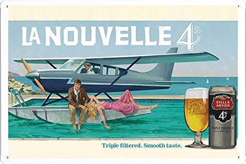 tin-sign-metal-poster-plate-8x12-of-stella-artois-beer-seaplane-by-food-beverage-decor-sign