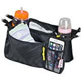 Universal Stroller Organizer Bag By KidLuf - 2 Cup Holders & Accessories Storage Bag for Strollers - With Mesh Pocket for Cell Phone (Black)