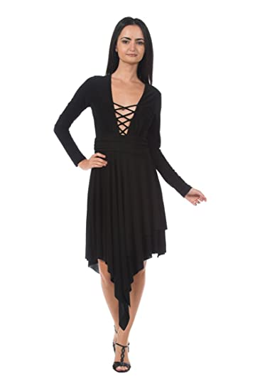 Womens Black Strappy Low Cut Plunge Front Evening Dance