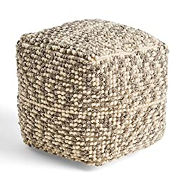 Great Deal Furniture Daisy Boho Wool and Cotton Ottoman Pouf, Ivory and Gray