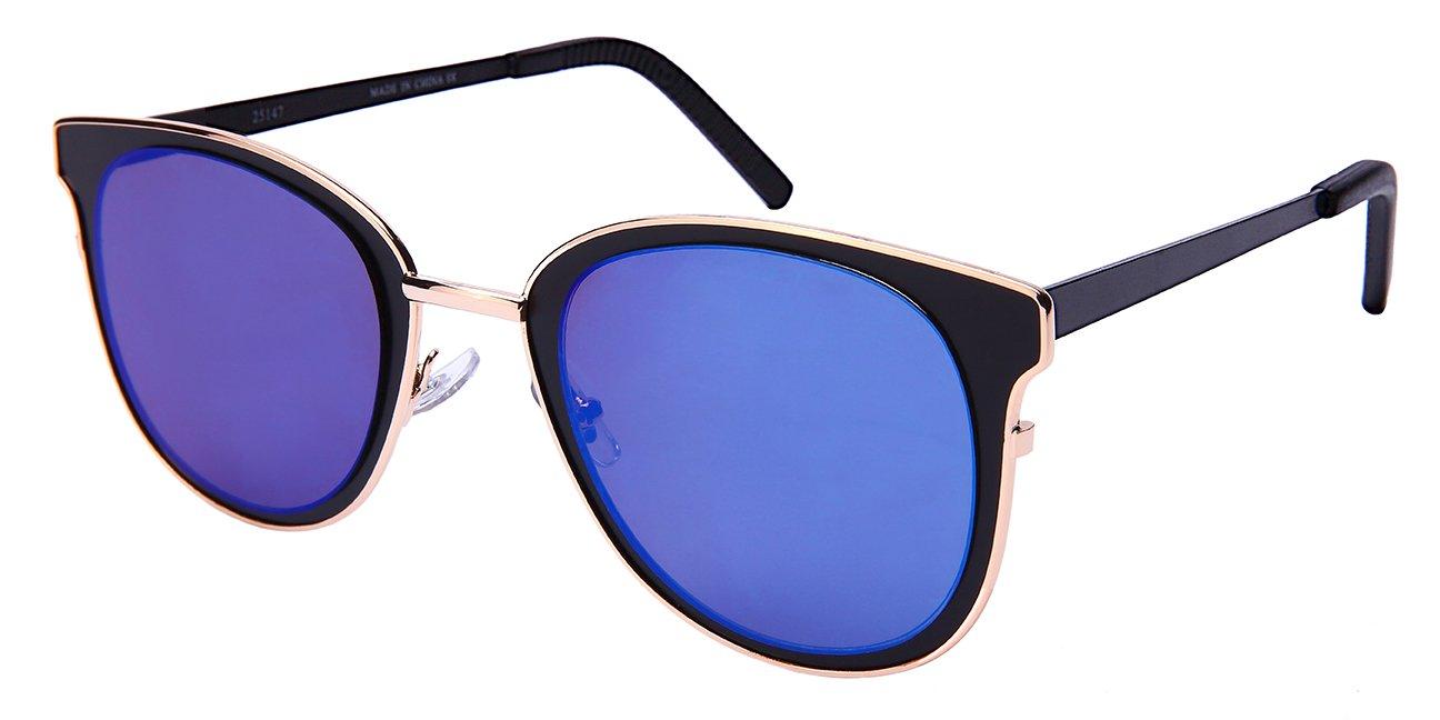 Edge I-Wear レディース B076HXK1V2 Matte Black Frame/Blue-white Mirrored Lens 52. ミリメートル Matte Black Frame/Blue-white Mirrored Lens