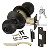 Commercial Grade 2 Keyed Entrance Door Knob with Cylindrical Lockset, Oil Rubbed Bronze, Non-Handed, by Lawrence Hardware