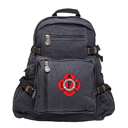 IAFF International Association of Fire Fighters Army Canvas Backpack in Black