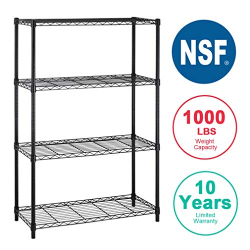 (4Shelf Wire Shelving Unit Garage NSF Wire Shelf Metal Storage Shelves Heavy Duty Height Adjustable for 1000 LBS Capacity)
