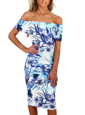 Sidefeel Women Floral Print Off Shoulder Bodycon Midi Dress