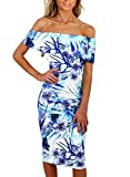 Happy Sailed Women Off Shoulder Floral Print Bodycon Midi Summer Dresses, Large Light Blue