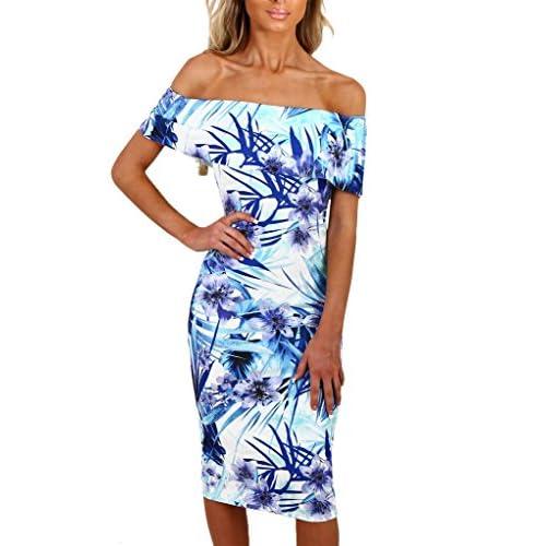 d81ab7dd18f Sidefeel Women Floral Print Off Shoulder Bodycon Midi Dress