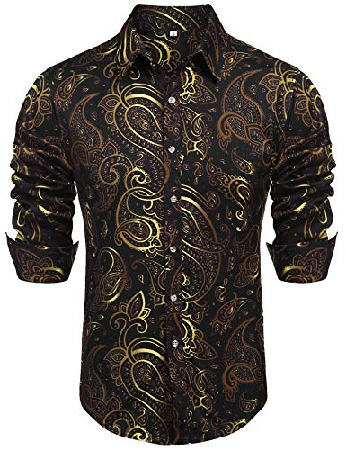 poriff Mens Retro Button Down Shirts Floral Print Long Sleeve Paisley Shirts Black XL