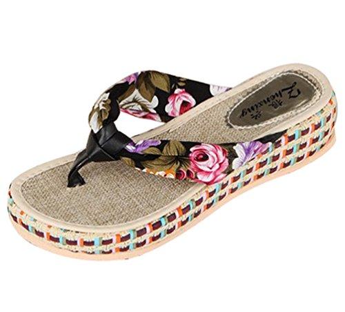 Sentao Verano Bohemia Playa de Sandalias de plataforma cuña plana Flip Flops zapatillas de Mujeres Negro
