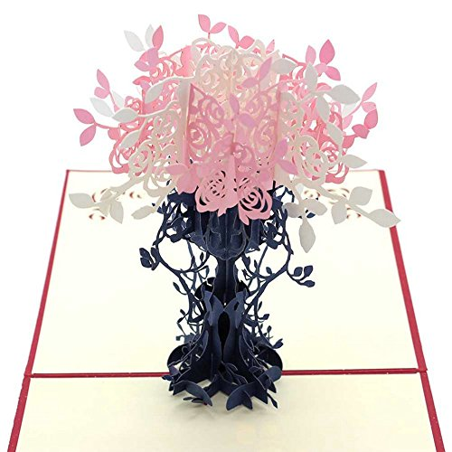 [Summer Clearance Sale Day 2016 Greeting Cards]3D Pop Up I Love Mom Handmade Luck Best Wish Greeting Card Kirigami Paper Craft (Flower)