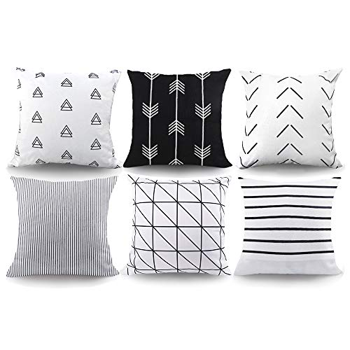 6pcs Geometric Pillow Covers Simple Stripe Pattern Extra Thick Linen Throw Pillow Cushion Cases for Home Office Decor 18 x 18 inch by CDWERD (Pillows Decor)