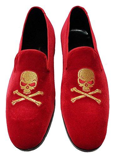 Zapatillas De Mocasín Garofalo Gianbattista En Terciopelo Rojo Con Bordado De Calavera
