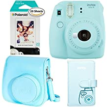 Fujifilm Instax Mini 9 - Ice Blue Instant Camera, Polaroid Instant Film Twin Pack - (20 Sheets), Fujifilm Instax Groovy Camera Case - Blue and Instax Wallet Album - Blue