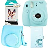Fujifilm Instax Mini 9 - Ice Blue Instant Camera, Polaroid Instant Film Twin Pack - (20 Sheets), Fujifilm Instax Groovy Camera Case - Blue and Instax Wallet Album - Blue
