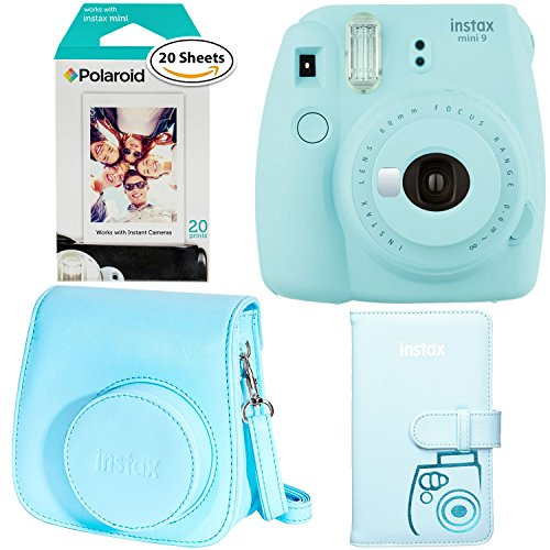 Fujifilm Instax Mini 9 – Ice Blue Instant Camera, Polaroid Instant Film Twin Pack – (20 Sheets), Fujifilm Instax Groovy Camera Case – Blue and Instax Wallet Album – Blue